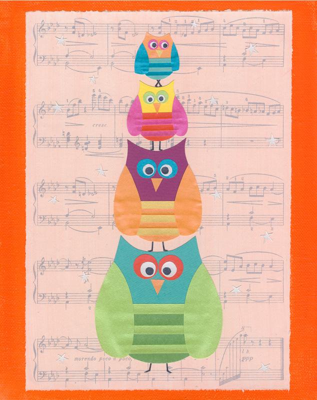 Owl Musical Statues - Art print - 10 x 8